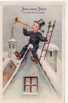 neujahr schornsteinfeger mit trompete und leiter auf dem
