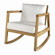 fauteuil 224 bascule en teck et tissu blanc alpin maisons