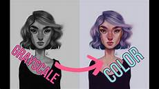 digital art grayscale to color tutorial youtube
