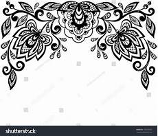 black white lace flowers leaves isolated stock vector 130593605