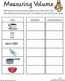 volume measurement worksheets grade 4 1631 measuring volume how much liquid can it hold worksheet education