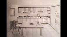 Kitchen Design Drawings by How To Draw One Point Perspective Kitchen With Furniture