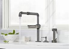 kitchen faucet industrial industrial style faucets by watermark to give your plumbing the cool look you always wanted