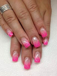 i love the pink and glitter tips glitter tip nails pink
