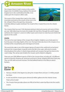 this year 6 geography worksheet includes interesting facts about the river children read
