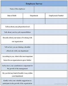 employee survey form sle forms