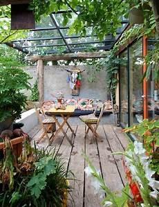 terrace design ideas sustainable rustic wood furniture