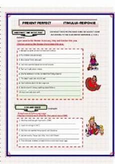 present perfect stimulus response exercises esl worksheet by kiaras