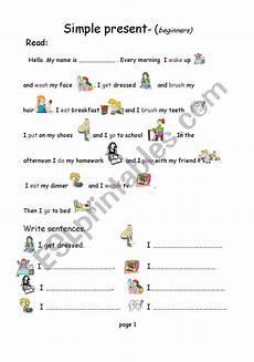 easy worksheets for beginners 19174 simple present beginners esl worksheet by kbhp