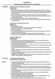 quality assurance resume sles velvet