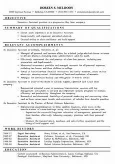 resume sle executive assistant