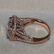 sz5 11 luxury jewelry 10ct 925 silver aaa cz rose gold plated wedding band ring ebay