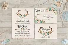 printable wedding invitation suite deer antler pink floral boho wedding invitation printable antlers wedding