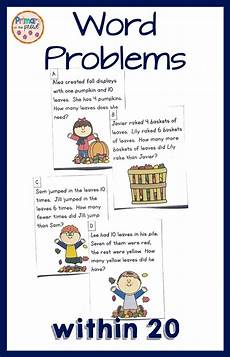 addition worksheets in 8897 word problems within 20 fall leaves theme word problems fall words math problem solving