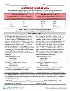 grammar worksheets consistent point of view 24725 practicing point of view context clues worksheets reading homework point of view