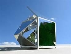 segmented cubes residence michael jantzen conceives fragmented folding mirrors pavilion