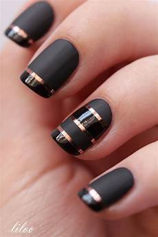 matte black with shiny black tips and copper striping