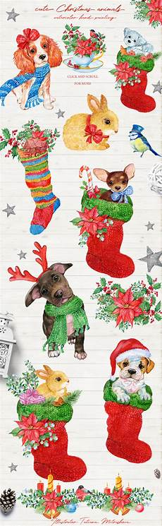 merry christmas cute animals 45042 illustrations design bundles