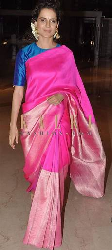 light pink saree matched with navy blue embellished blouse only kalki silk bollywood and