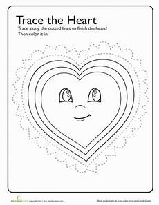trace color heart worksheet education com
