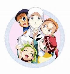 Kartun Keluarga Muslim Ibu Dan Anak Anaknya Kartun
