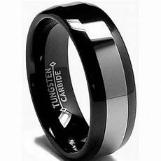 8mm mens black tungsten carbide wedding engagement comfort band ring