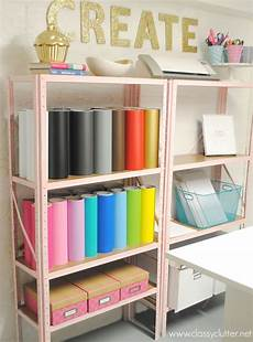 inexpensive craft room shelving clutter