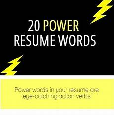 20 resume power words infographic with images