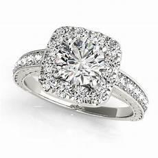 square diamond halo engagement ring wedding band 14k w