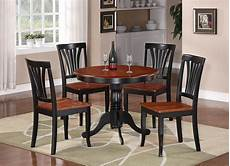 5pc round table dinette kitchen table 4 chairs black