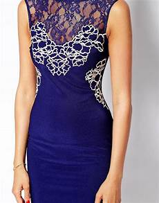 lipsy lace applique dress lipsy lace applique bodycon dress in navy blue lyst