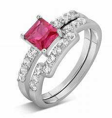 2 carat pink sapphire and diamond wedding ring in white gold jeenjewels