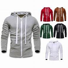 fall 2016 new mens plain hoodie fleece sweatshirt hooded coat jumper zip jacket sized coats