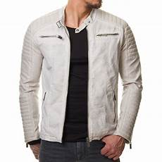 veste homme blanche manche cuir pu 611
