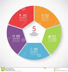 5 penthouses from 5 different parts of the infographic circle banner vector template with 5 steps