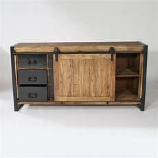 buffet industriel porte coulissante meuble buffet industriel bois metal ensemble avec