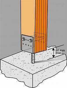 abri en bois 10025 pied de poteau en u avec tige 100x70 mm 224 sceller