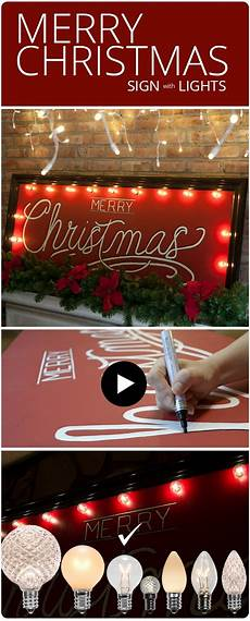 diy merry christmas sign with marquee lights
