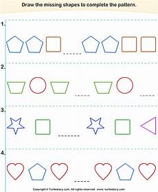 complete the pattern worksheets 4th grade 468 complete the shapes pattern worksheet turtle diary