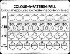 color patterns worksheets 53 fall color a pattern worksheets freebie by planning in pjs tpt