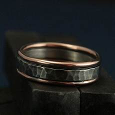 the paragon 14k solid rose gold edged hammered silver band