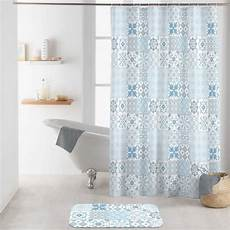 rideau salle de bain tissu rideau de 200 cm lagos bleu accessoire