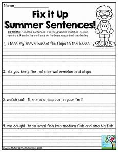 writing sentences worksheets for grade 5 22963 fix it up summer sentences find the mistakes in the sentences and write the sentences correctly