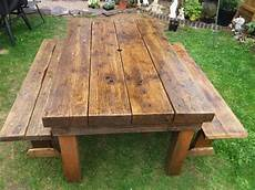 solid wood garden table and 2 benches restored in