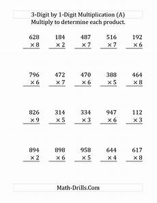 multiplication worksheets single digit 4589 the multiplying a 3 digit number by a 1 digit number large print a 4th grade