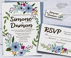 printable floral wedding invitations country wedding