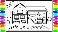how to draw a house with a garden for