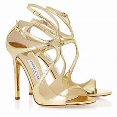 Jimmy Choo Lance Gold Mirror Leather Sandals In Metallic