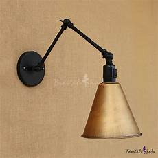 swing arm wall light canada industrial swing arm wall sconce 5 quot conical shade aged brass beautifulhalo com