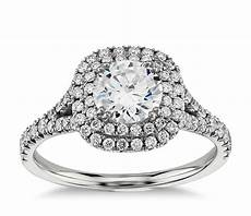 duet halo diamond engagement ring in 18k white gold 1 2 ct tw blue nile
